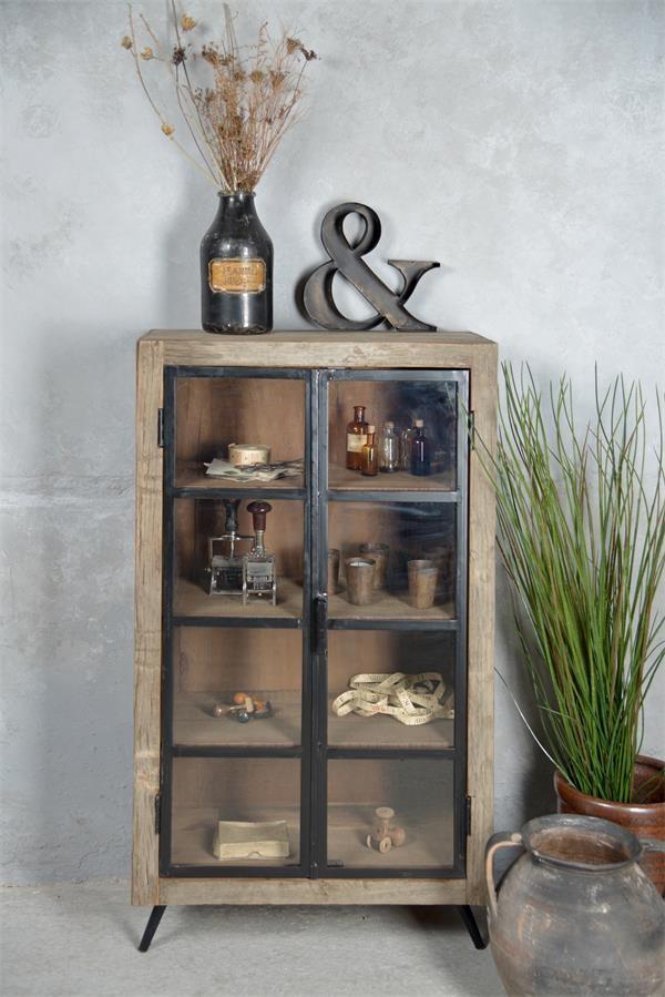 Armoire en bois avec portes en fer et verre - Dim : 110x60x30cm - Réf : 573320