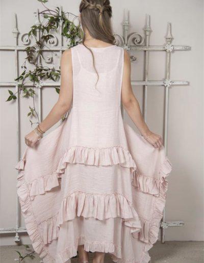 Robe à volants lin rose - dos - Réf. 93143-23