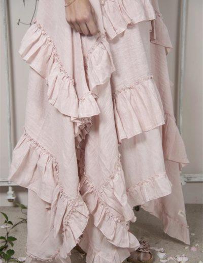 Robe à volants lin rose - bas - Réf. 93143-23