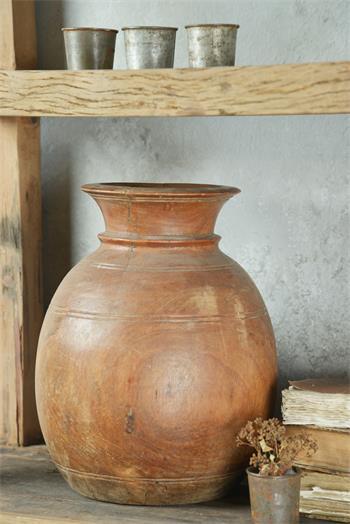 Pot ancien authentique - bois patiné - H-20-28 cm suivant arrivage - Réf. 571941