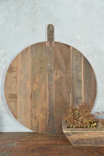 Plat rond avec poignée - Bois recyclé - Réf. 571949