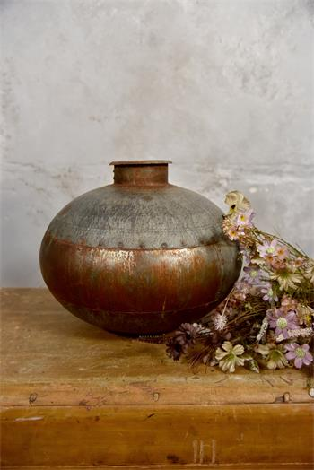 Vase ancien authentique - zinc galvanisé - 36 x 36 x 30 cm - Réf. 573647