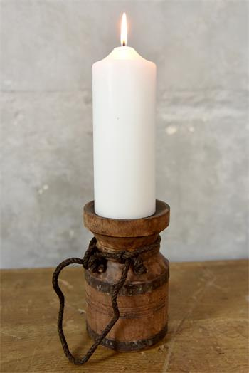 Bougeoir bois ancien - D:10cm - 13 x18 cm - Réf. 575100